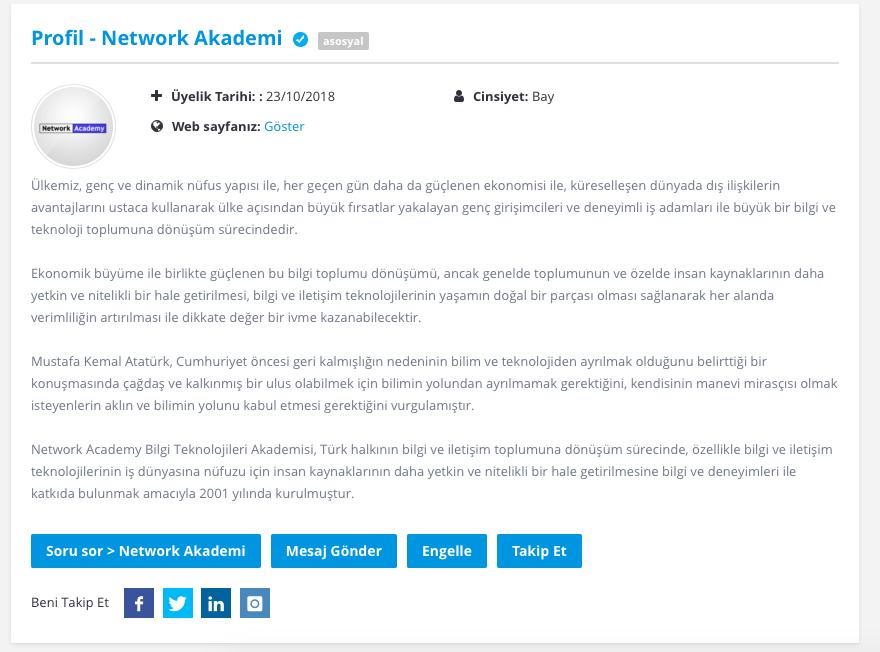 SoruCVP Profil sayfası görünümü