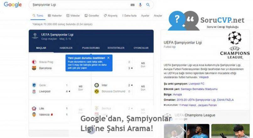 Google'dan, Şampiyonlar Ligi'ne Şahsi Arama!