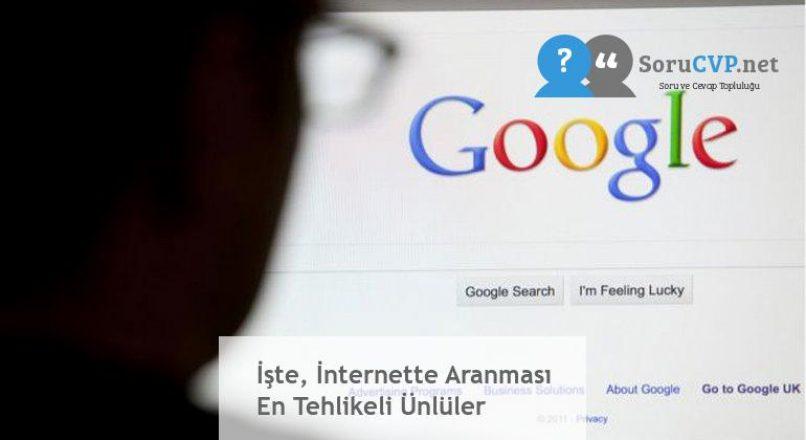 İşte, İnternette Aranması En Tehlikeli Ünlüler