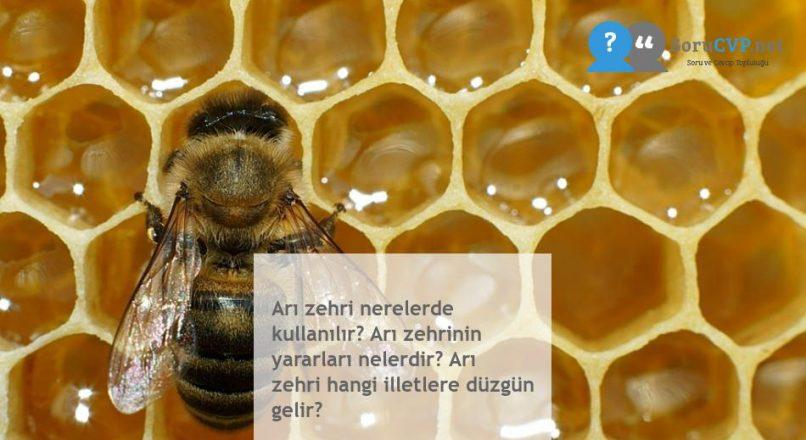 Arı zehri nerelerde kullanılır? Arı zehrinin yararları nelerdir? Arı zehri hangi illetlere düzgün gelir?