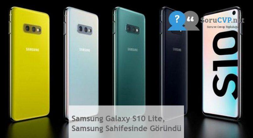 Samsung Galaxy S10 Lite, Samsung Sahifesinde Göründü