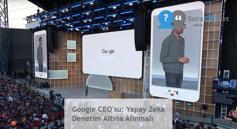 Google CEO'su: Yapay Zeka Denetim Altına Alınmalı
