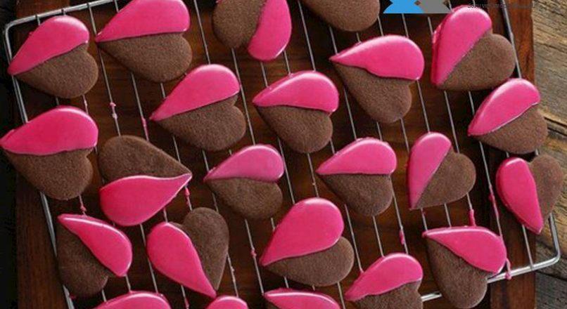 Pembe Glazürlü Kalp Kurabiye
