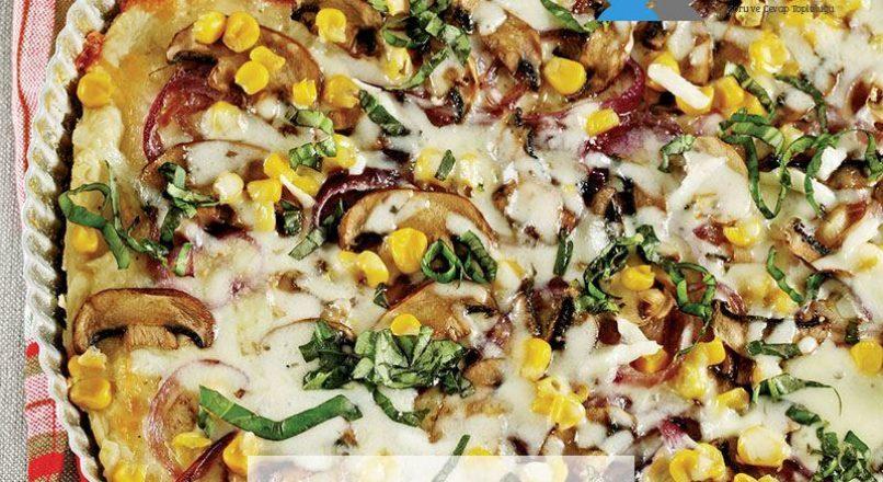 Mantarlı ve soğanlı çıtır pizza
