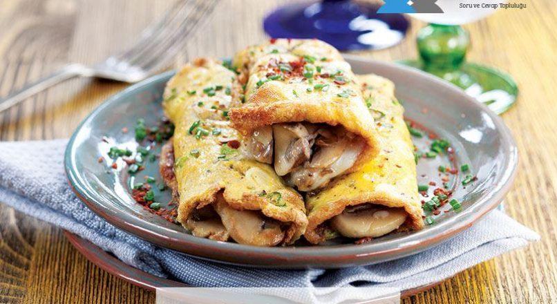Yenibaharlı ve mantarlı omlet