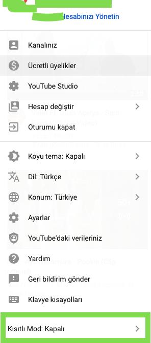 bilgisayar youtube kısıtlama modu